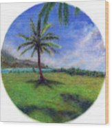 Princeville Palm Wood Print by Kenneth Grzesik