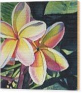 Rainbow Plumeria Wood Print by Marionette Taboniar