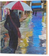Rainy New York Wood Print by Michael Lee