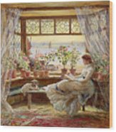 Reading By The Window Wood Print by Charles James Lewis
