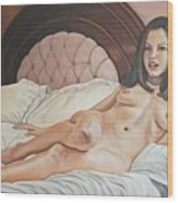 Reclining Nude Wood Print by Kenneth Kelsoe