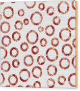 Red Abstract Circles Wood Print by Frank Tschakert