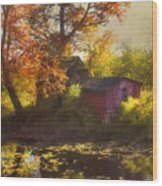 Red Barn In Autumn Wood Print by Joann Vitali