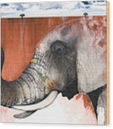 Red Elephant Wood Print by Anthony Burks Sr