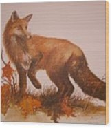 Red Fox Wood Print by Ben Kiger