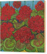 Red Geranium Wood Print by Anna Folkartanna Maciejewska-Dyba