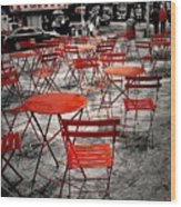 Red In My World - New York City Wood Print by Angie Tirado