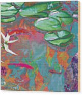 Red Koi In Green Disguise Wood Print by Judy Loper