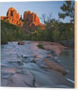 Red Rock Sunset Wood Print by Mike  Dawson