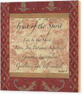 Red Traditional Fruit Of The Spirit Wood Print by Debbie DeWitt