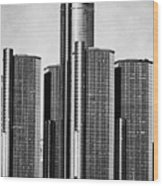 Renaissance Center - Black And White Wood Print by Alanna Pfeffer