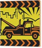 Retro Tow Truck Wood Print by Aloysius Patrimonio
