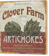 Retro Veggie Labels 1 Wood Print by Debbie DeWitt