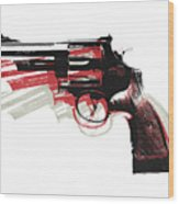 Revolver On White Wood Print by Michael Tompsett