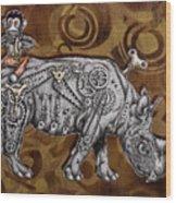 Rhino Mechanics Wood Print by Tai Taeoalii