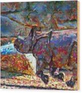 Rhino On The Run Wood Print by Marilyn Sholin