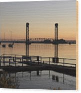 Rio Vista Bridge And Sail Boats Wood Print by Troy Montemayor