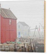 Rockport Fog Wood Print by Susan Cole Kelly