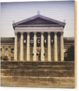 Rocky On The Art Museum Steps Wood Print by Bill Cannon