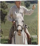 Ronald Reagan On Horseback  Wood Print by War Is Hell Store