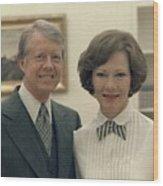 Rosalynn Carter And Jimmy Carter Wood Print by Everett