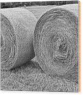 Round Hay Bales Black And White  Wood Print by James BO  Insogna