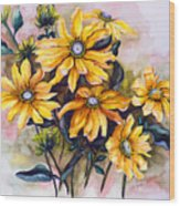 Rudbeckia  Prairie Sun Wood Print by Karin  Dawn Kelshall- Best