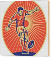 Rugby Player Kicking Ball Woodcut Wood Print by Aloysius Patrimonio