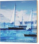 Sailboats Wood Print by MW Robbins