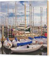 Sailoats Docked In Marina Wood Print by David Buffington