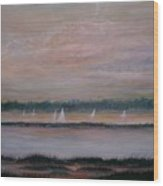 Sails In The Sunset Wood Print by Ben Kiger