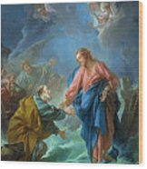 Saint Peter Invited To Walk On The Water Wood Print by Francois Boucher