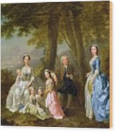 Samuel Richardson Seated With His Family Wood Print by Francis Hayman