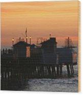 San Clemente Pier Sunset Wood Print by Brad Scott