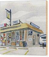 Sandwich Shop Wood Print by Ashley Lathe