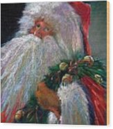 Santa Claus With Sleigh Bells And Wreath  Wood Print by Shelley Schoenherr