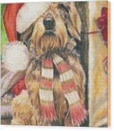 Santas Little Yelper Wood Print by Barbara Keith