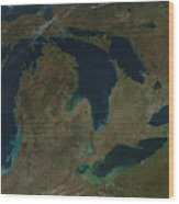 Satellite View Of The Great Lakes, Usa Wood Print by Stocktrek Images
