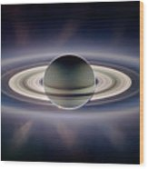 Saturn Silhouetted, Cassini Image Wood Print by Nasajplspace Science Institute