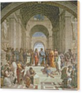 School Of Athens From The Stanza Della Segnatura Wood Print by Raphael