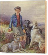 Scottish Boy With Wolfhounds In A Highland Landscape Wood Print by James Jnr Hardy