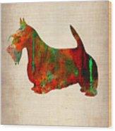 Scottish Terrier Watercolor 2 Wood Print by Naxart Studio