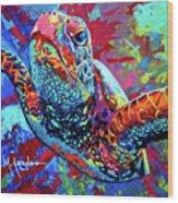 Sea Turtle Wood Print by Maria Arango