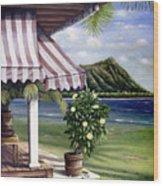 Seaside Hotel Wood Print by Sandra Blazel - Printscapes