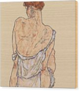 Seated Woman In Underwear Wood Print by Egon Schiele