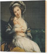 Self Portrait In A Turban With Her Child Wood Print by Elisabeth Louise Vigee Lebrun