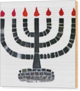 Seven-branched Temple Menorah Wood Print by Christine Till