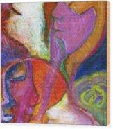 Seven Faces Wood Print by Claudia Fuenzalida Johns