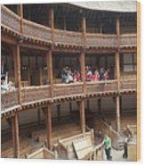 Shakespeare's Globe Theater C378 Wood Print by Charles  Ridgway