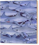 Sharks Wood Print by Catherine G McElroy